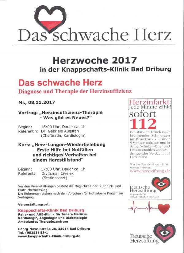 Das schwache Herz – Diagnose und Therapie der Herzinsuffizienz - Knappschafts-Klinik Bad Driburg beteiligt sich an Herzwoche 2017