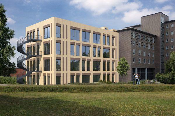 3-D-Modellation des Neubaus des Beruflichen Trainingszentrums Leipzig am Berufsförderungswerk Leipzig. © sisuplan GmbH (www.sisuplan.de)