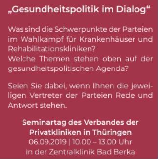 """Gesundheitspolitik im Dialog"" Seminartag am 6. September 2019"
