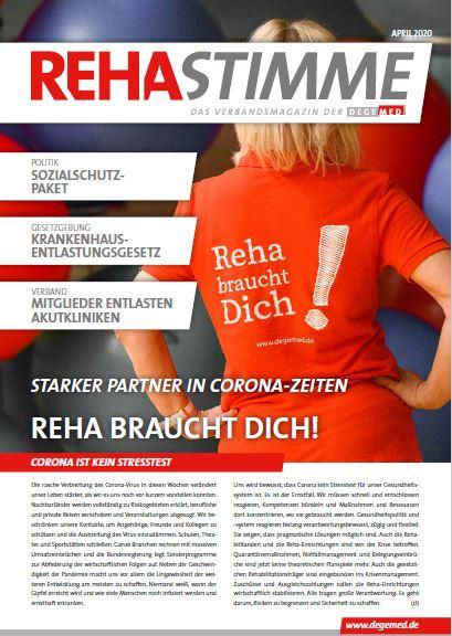 Akuelle RehaStimme titelt: Starker Partner in Corona-Zeiten − Reha braucht Dich!