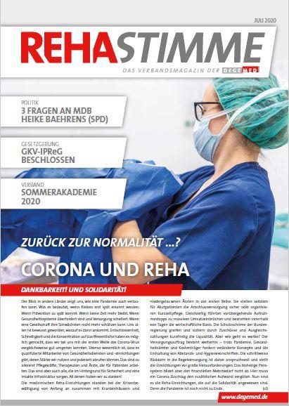 """DEGEMED-Verbandsmagazin titelt """"Zurück zur Normalität …? Corona und Reha"""""""