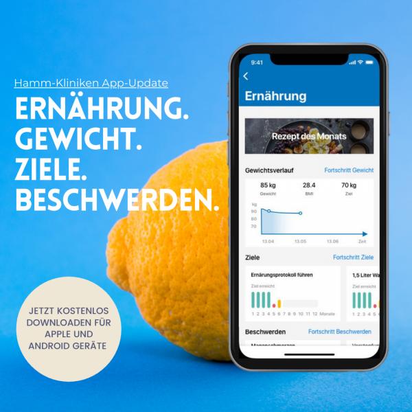 Hamm-Kliniken App: Ernährungsbereich zur Rehanachsorge